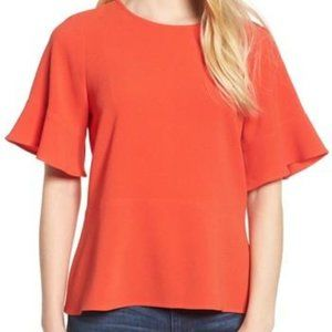 Madewell Flare Hem Top Large Oversized Orange
